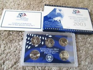 2003 S US MINT PROOF STATE QUARTERS COIN SET  5 COINS