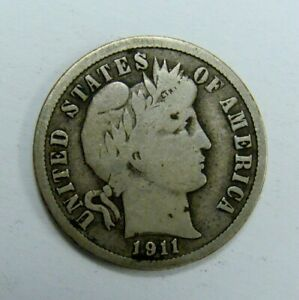 1911 D FINE BARBER DIME  NICE FULL RIMS COLLECTOR COIN