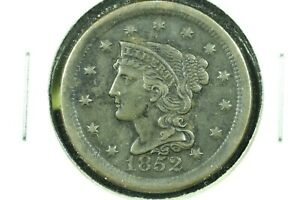 1852 BRAIDED HAIR LARGE CENT XF