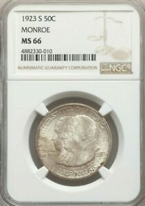 1923 S 50C MONROE HALF DOLLAR MS66 NGC    IN THIS GRADE OR HIGHER