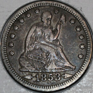 1853 P SEATED LIBERTY QUARTER ARROWS AND RAYS QUALITY COIN LOTS OF DETAIL