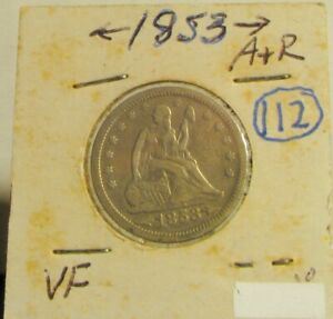 1853 P 90  SILVER SEATED LIBERTY QUARTER W/ ARROWS & RAYS