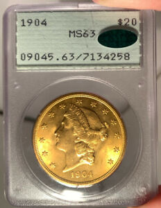1904 $20 PCGS MS 63 CAC LIBERTY GOLD DOUBLE EAGLE   RATTLER