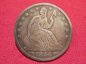 1854 SEATED LIBERTY HALF DOLLAR WITH ARROWS AND