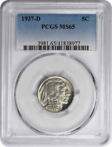 1937 D BUFFALO NICKEL MS65 PCGS
