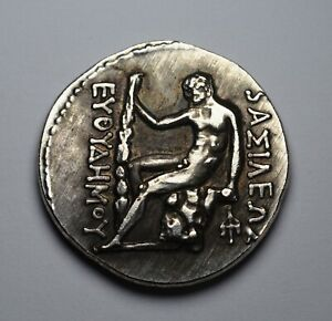ANCIENT GREEK GRECO BACTRIAN COIN 200BC. EUTHYDEMUS I WITH HERAKLES. 28MM 11G.
