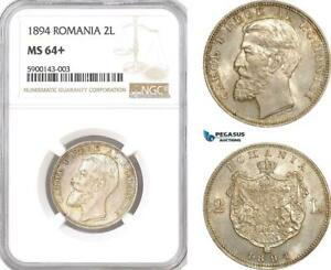 Click now to see the BUY IT NOW Price! AF347 ROMANIA CAROL I 2 LEI 1894 BRUSSELS SILVER NGC MS64  POP 1/1