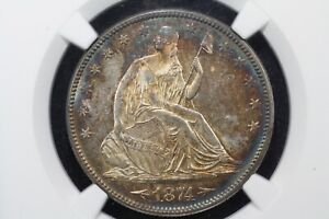 1874 W/ ARROWS SEATED LIBERTY HALF DOLLAR NGC MS 61 OUTSTANDING COLOR