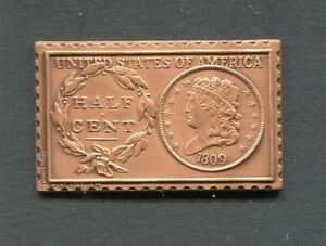 1809 UNITED STATES CLASSIC HEAD 1/2 HALF CENT NUMISTAMP MEDAL 1977 MORT REED