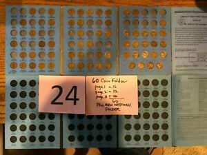 PARTIAL SET 1909   1940 LINCOLN WHEAT CENT PENNY ALBUM 60 COINS   NEW FOLDER PDS