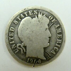 1906  O G  DETAILS BETTER DATE BARBER DIME  IN USA