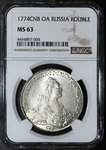 Click now to see the BUY IT NOW Price! 1774 RUSSIA ROUBLE   NGC MS63  SOLD FOR OVER $7000 ON HERITAGE