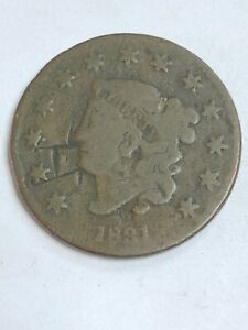 1831   LARGE CENT    CUT IN COIN SEE THE PICTURES