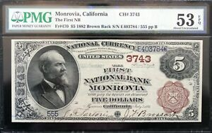 Click now to see the BUY IT NOW Price! 1882 $5 BROWN BACK MONROVIA CALIFORNIA PMG 53 EPQ FR. 470  NOTE