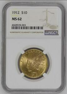 1912 $10 GOLD INDIAN HEAD EAGLE NGC MS 62