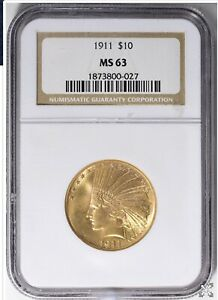 1911 $10 GOLD INDIAN HEAD EAGLE NGC MS 63