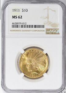 1911 $10 GOLD INDIAN HEAD EAGLE NGC MS 62
