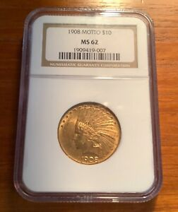 1908 P $10 GOLD INDIAN HEAD  EAGLE NGC MS62