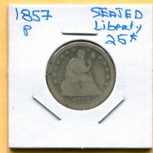 WELL WORN 1857 SEATED LIBERTY QUARTER   NO MOTTO