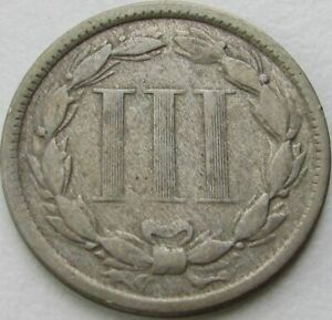 1872 NICKEL 3 CENTS IN A SAFLIP   VF   FINE