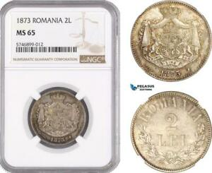 Click now to see the BUY IT NOW Price! AF473 ROMANIA CAROL I 2 LEI 1873 BRUSSELS SILVER NGC MS65 POP 1/0 R