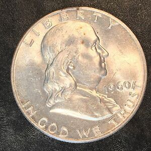 1960 D FRANKLIN HALF NICE UNCIRCULATED   HIGH QUALITY SCANS E610