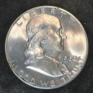 1960 D FRANKLIN HALF NICE UNCIRCULATED   HIGH QUALITY SCANS E612