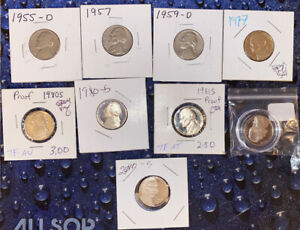 5C JEFFERSON NICKEL PROOF AND BU 10 COIN LOT   CHEAP   1955 D TO 2010 S   M03