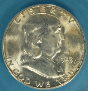 1953 S FRANKLIN HALF DOLLAR ANACS MS65   EXCEPTIONAL SURFACES GOLD HIGHLIGHTS