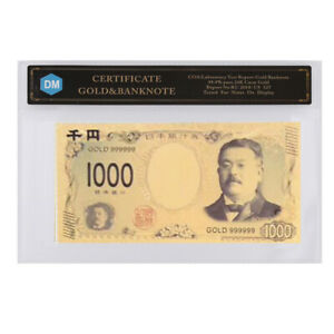 NEW STYLE 1000 YEN JAPAN 24K GOLD BANKNOTE COMMEMORATIVE GIFTS WITH COA