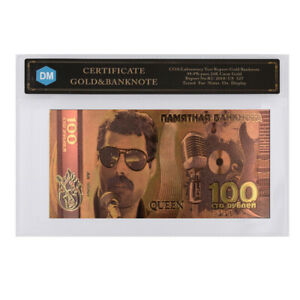 QUEEN BAND BOHEMIAN RHAPSODY COMMEMORATIVE 24K GOLD BANKNOTE WITH COA FRAME