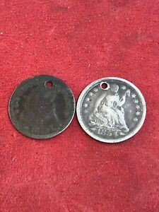 1853 AND 1854  SEATED HALF DIME BOTH HOLED  TWO COINS  SEE THE PICS