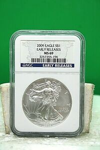 2009 AMERICAN SILVER EAGLE $1 NGC MS69 EARLY RELEASE BLUE LABEL