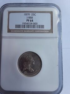 COLLECTOR COIN:  1870 NGC PF 64 J 888 US 25 CENT PATTERN
