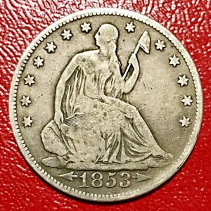 1853 SEATED LIBERTY HALF  WITH ARROWS AND RAYS CLASHED DIES AND PRE CUD CRACK
