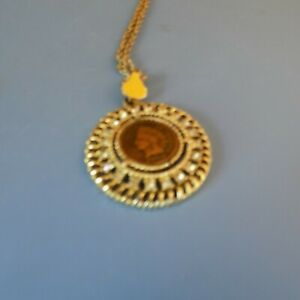 120 YEAR OLD  1900  INDIAN HEAD PENNY COIN IN RHINESTONE BEZEL  W/24 NECKLACE.