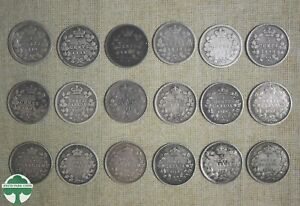 CANADIAN 5 CENT SILVER 18 PIECE COLLECTION 1870 1920