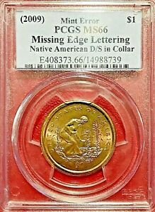 Click now to see the BUY IT NOW Price!  2009  NATIVE AM DOLLAR PCGS MS 66 MEL   DOUBLE STRUCK IN COLLAR ERROR