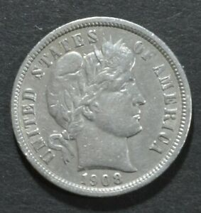 1908  P  BARBER DIME 10 CENT .900 SILVER