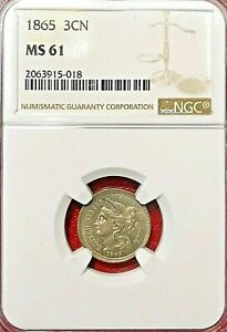 Click now to see the BUY IT NOW Price! 1865 THREE CENT NICKEL NGC MS 61 MAJOR CLASHED DIES ERROR