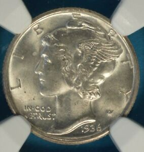 1936 S MERCURY DIME NGC MS66FB  NICE EYE APPEAL MOSTLY WHITE GEM