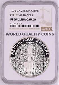 Click now to see the BUY IT NOW Price! CAMBODIA 1974 SILVER 10K RIELS CELESTIAL DANCER KHMER NGC PF69 MINTAGE 800