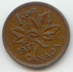 CANADA 1937 PENNY CANADIAN 1 CENT COIN 1C  EXACT  COIN