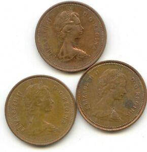 CANADA 1979   1980   1981 PENNIES CANADIAN 1 CENT 1C EXACT SET SHOWN
