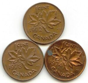 CANADA 1972   1973   1974 PENNIES CANADIAN 1 CENT 1C EXACT SET SHOWN