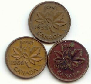 CANADA 1953 1958 1959 ONE CENT CANADIAN PENNIES PENNY 1C EXACT SET