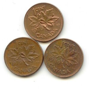 CANADA 1978   1979   1980 PENNIES CANADIAN 1 CENT 1C EXACT SET SHOWN