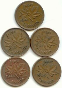 CANADA 1941 1942 1943 1944 & 1945 CANADIAN PENNIES ONE CENT 1C EXACT SET SHOWN