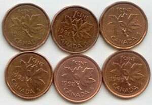 CANADA 1989 1991 1992 1993 1998 1999 ONE CENT CANADIAN PENNIES PENNY 1C SET