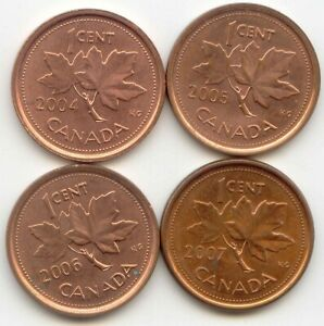 CANADA [ 2004 2005 2006 NON MAG]   [ 2007 MAGNETIC] PENNIES CANADIAN 1 CENT 1C